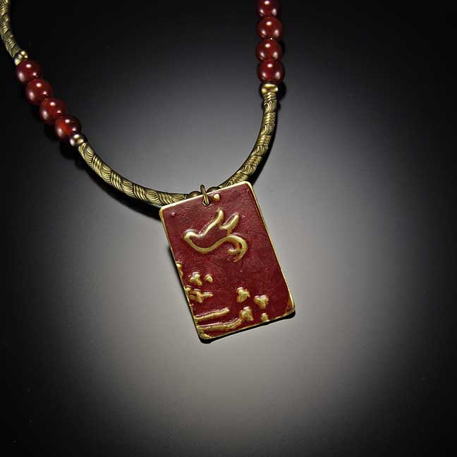 Image for Red Bird Embossed Brass Necklace