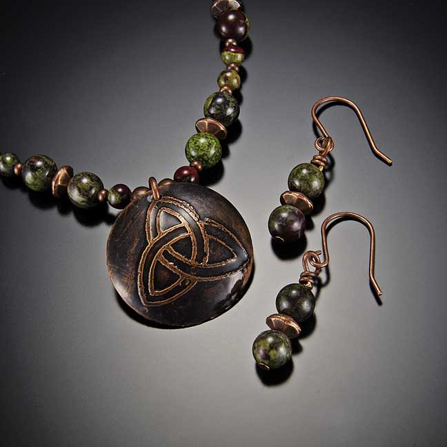 Image for Copper Celtic Trinity Knot with Dragon Blood Jasper Necklace