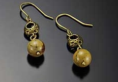 Image for Verdite with Brass Filigree Earrings